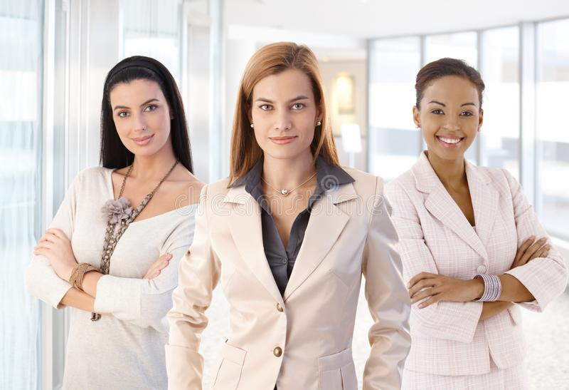 Πορτρέτο ομάδας της ελκυστικής κομψής επιχειρηματία στοκ φωτογραφίες