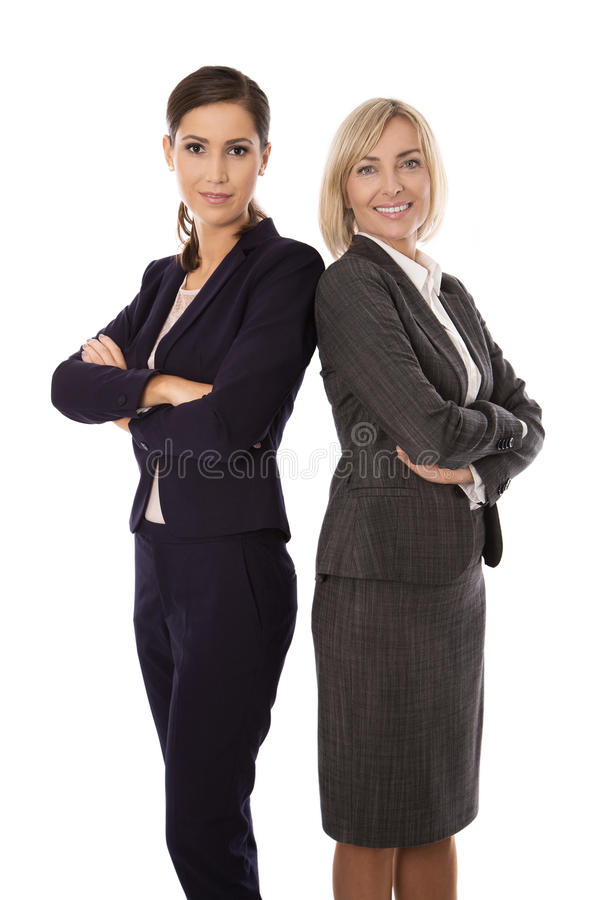 Πορτρέτο: Ομάδα του δύο απομονωμένου χαμογελώντας και επιτυχούς businesswo στοκ εικόνες