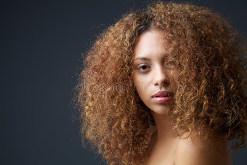 Πορτρέτο ομορφιάς ενός ελκυστικού θηλυκού προτύπου μόδας με τη σγουρή τρίχα στοκ φωτογραφία με δικαίωμα ελεύθερης χρήσης