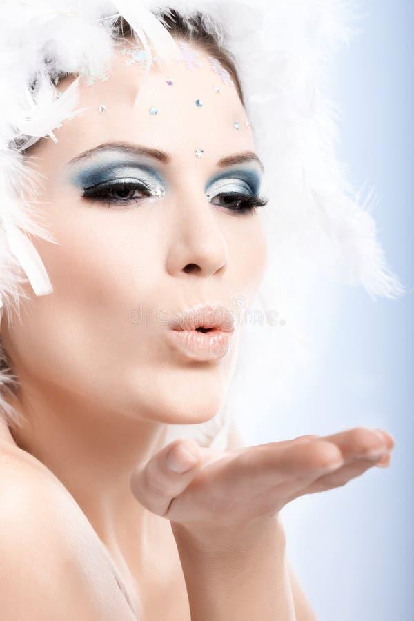 Πορτρέτο ομορφιάς της γυναίκας το χειμώνα makeup στοκ φωτογραφία με δικαίωμα ελεύθερης χρήσης