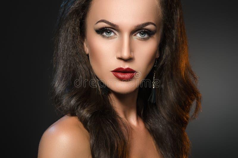 Πορτρέτο ομορφιάς της ελκυστικής γυναίκας brunette σε ένα σκοτεινό γκρίζο υπόβαθρο στοκ φωτογραφίες με δικαίωμα ελεύθερης χρήσης