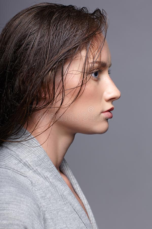 Πορτρέτο ομορφιάς της νέας γυναίκας στο γκρίζο φόρεμα κορίτσι brunette με στοκ φωτογραφίες