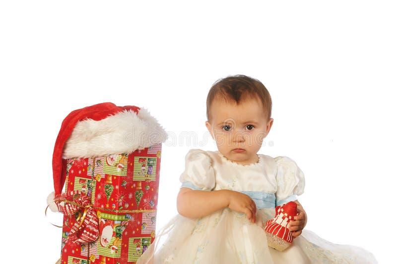 Πορτρέτο παιδιών Χριστουγέννων στο στούντιο στο άσπρο υπόβαθρο στοκ φωτογραφία με δικαίωμα ελεύθερης χρήσης