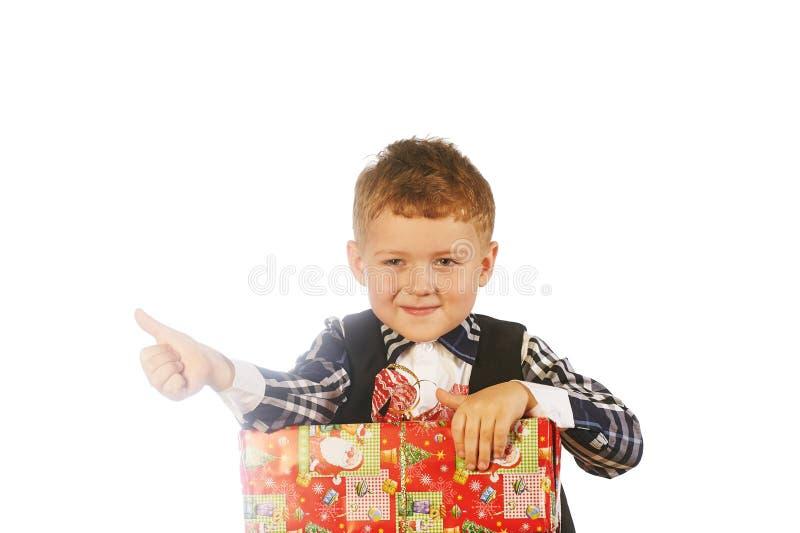 Πορτρέτο παιδιών Χριστουγέννων στο στούντιο στο άσπρο υπόβαθρο στοκ φωτογραφίες με δικαίωμα ελεύθερης χρήσης