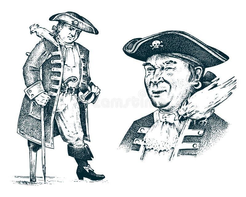 Πορτρέτο πειρατών Άτομο καπετάνιου στο σκάφος που ταξιδεύει μέσω των ωκεανών και των θαλασσών Θαλάσσια περιπέτεια του γάντζου ναυ ελεύθερη απεικόνιση δικαιώματος