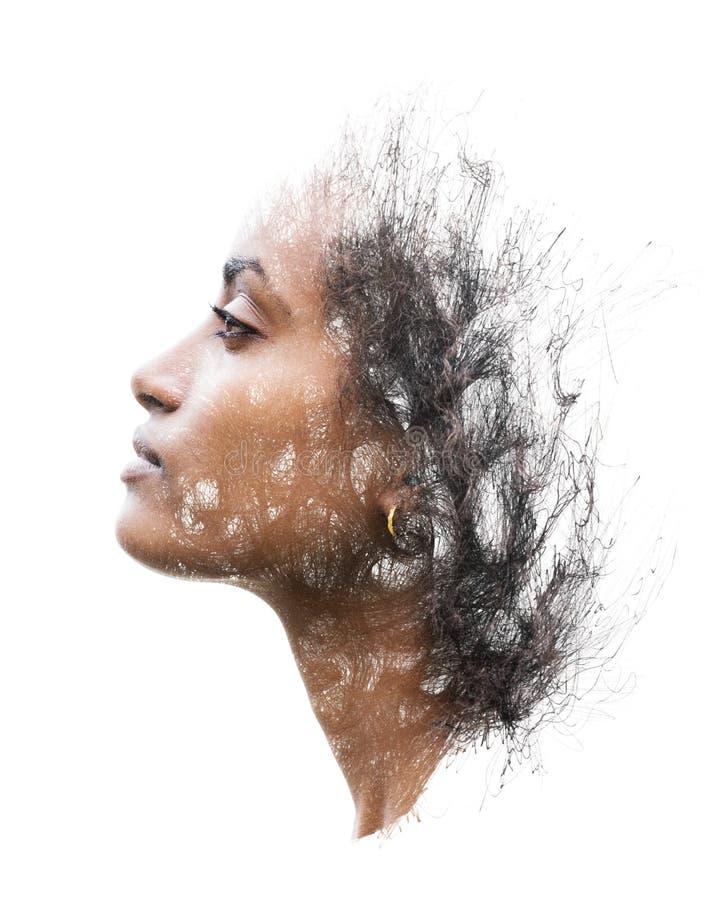 Πορτρέτο που συνδυάζεται με το σχέδιο μανδρών στοκ εικόνες
