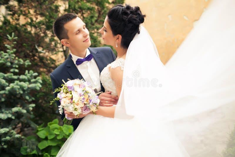 Πορτρέτο πρόσφατα του παντρεμένου ζευγαριού αέρας που ανυψώνει επάνω το μακρύ πέπλο στοκ φωτογραφία