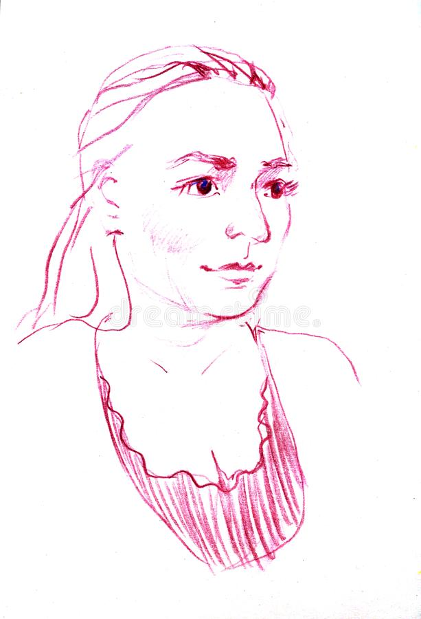 Πορτρέτο σχεδίων της νέας γυναίκας Θηλυκό πρόσωπο Σκίτσο του όμορφου κοριτσιού ελεύθερη απεικόνιση δικαιώματος