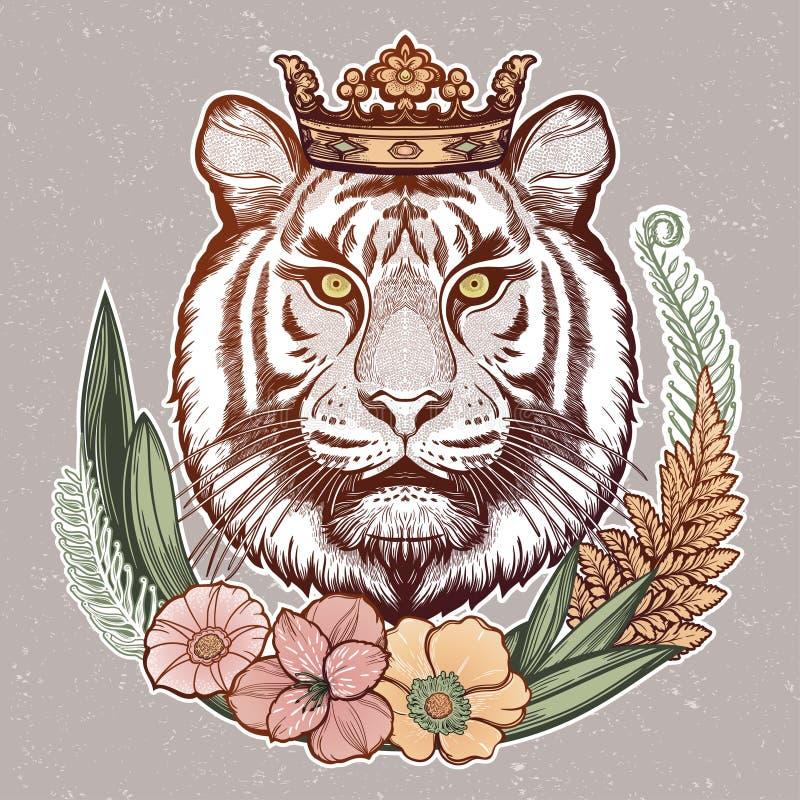 Πορτρέτο τίγρης στο πλαίσιο των τροπικών λουλουδιών Ονειρική μαγική τέχνη Νύχτα, φύση, σύμβολο Απεικόνιση απομονωμένου διανύσματο στοκ φωτογραφία με δικαίωμα ελεύθερης χρήσης