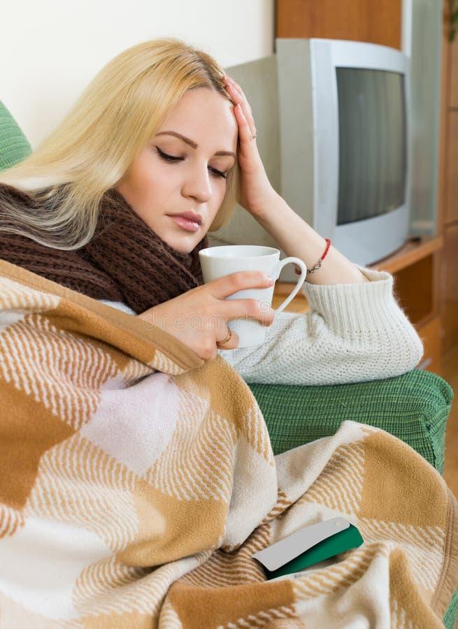 Πορτρέτο της άρρωστης γυναίκας στοκ εικόνες