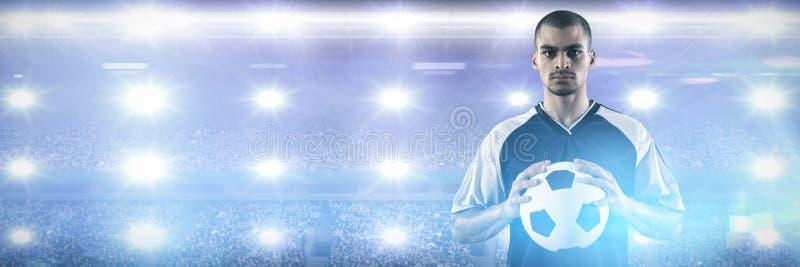 Πορτρέτο της βέβαιας σφαίρας εκμετάλλευσης ποδοσφαιριστών ενάντια στο στάδιο ράγκμπι στοκ εικόνες με δικαίωμα ελεύθερης χρήσης