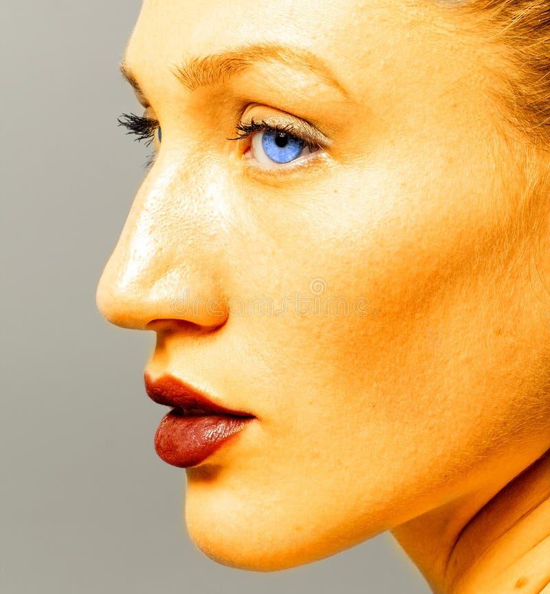 Πορτρέτο της γυναίκας ομορφιάς στο χρυσό στοκ εικόνες