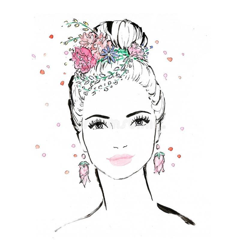 Πορτρέτο της γυναίκας/του κοριτσιού με τα λουλούδια στην τρίχα het - διαμορφώστε την απεικόνιση/την ομορφιά διανυσματική απεικόνιση