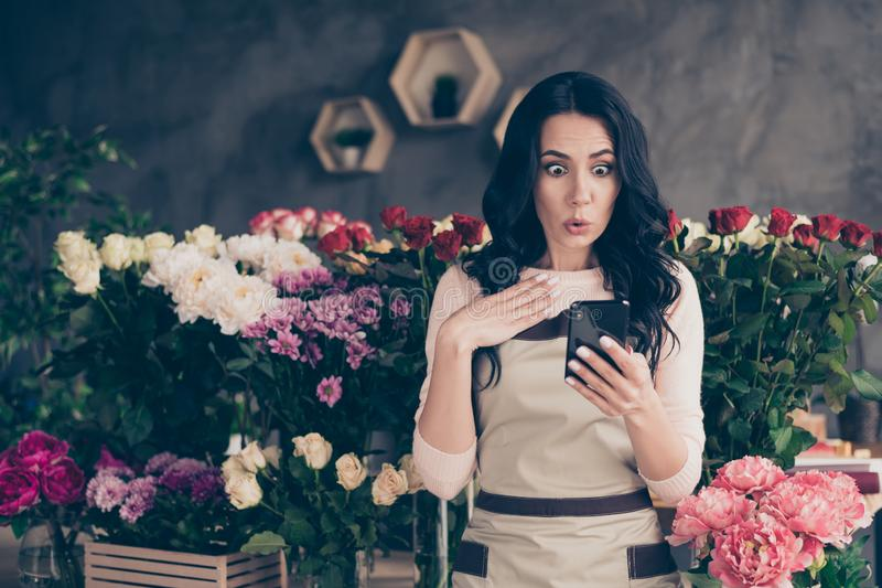 Πορτρέτο της ελκυστική ελκυστική καλή γοητεία κατέπληξε την κατσαρή μπουτίκ ντεκόρ σαλονιών γυναικείου γάμου στοκ εικόνες