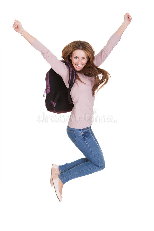 Πορτρέτο της ευτυχούς γυναίκας σπουδαστή στοκ φωτογραφία