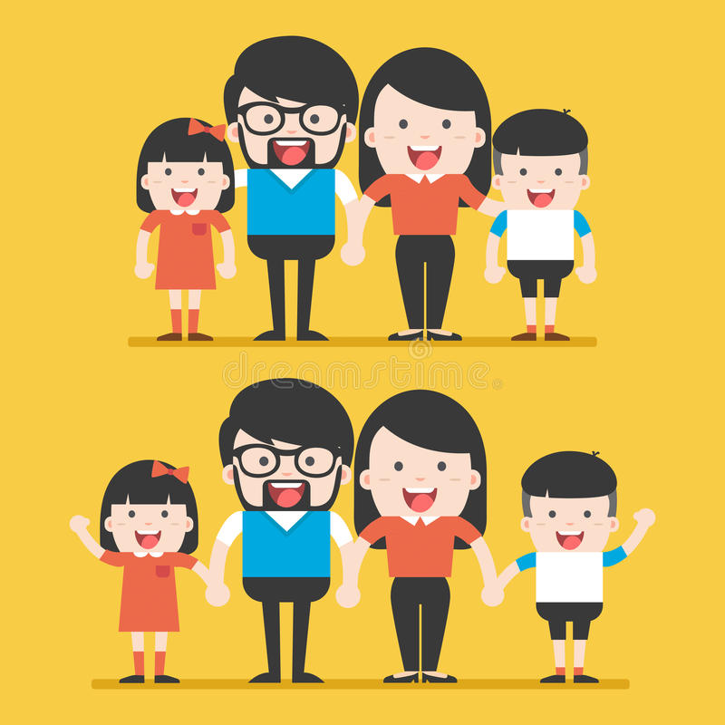 Πορτρέτο της ευτυχούς μοντέρνης οικογένειας τεσσάρων μελών που θέτει από κοινού διανυσματική απεικόνιση