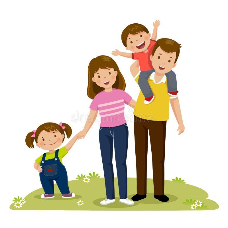Πορτρέτο της ευτυχούς οικογένειας τεσσάρων μελών που θέτει από κοινού WI γονέων ελεύθερη απεικόνιση δικαιώματος
