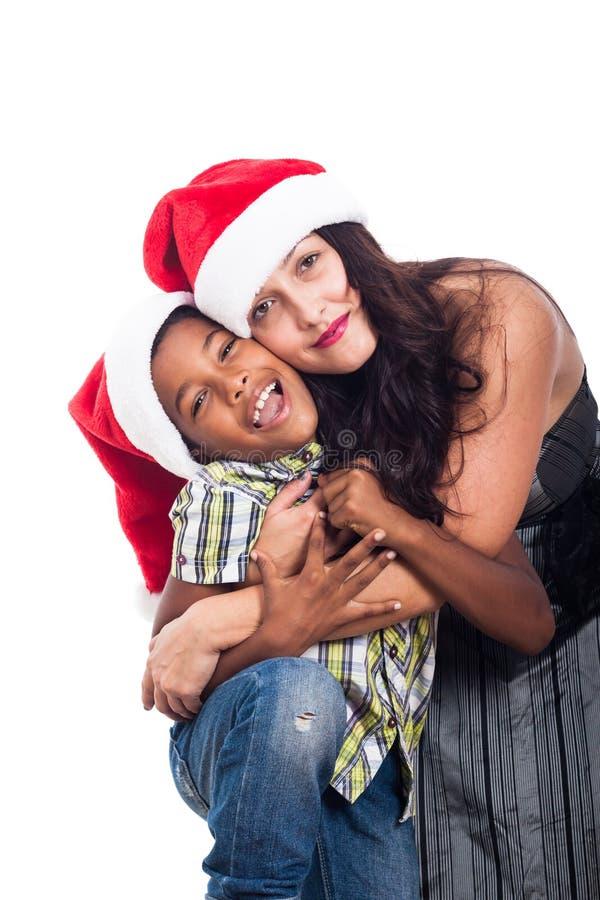 Πορτρέτο της ευτυχούς οικογένειας Χριστουγέννων στοκ εικόνες