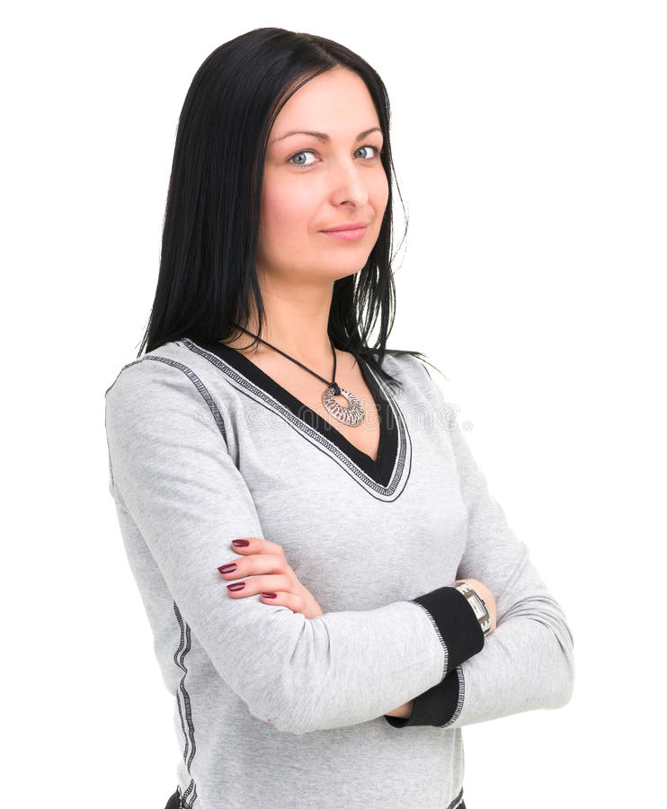 Πορτρέτο της ελκυστικής καυκάσιας χαμογελώντας γυναίκας με το copyspace στοκ εικόνες