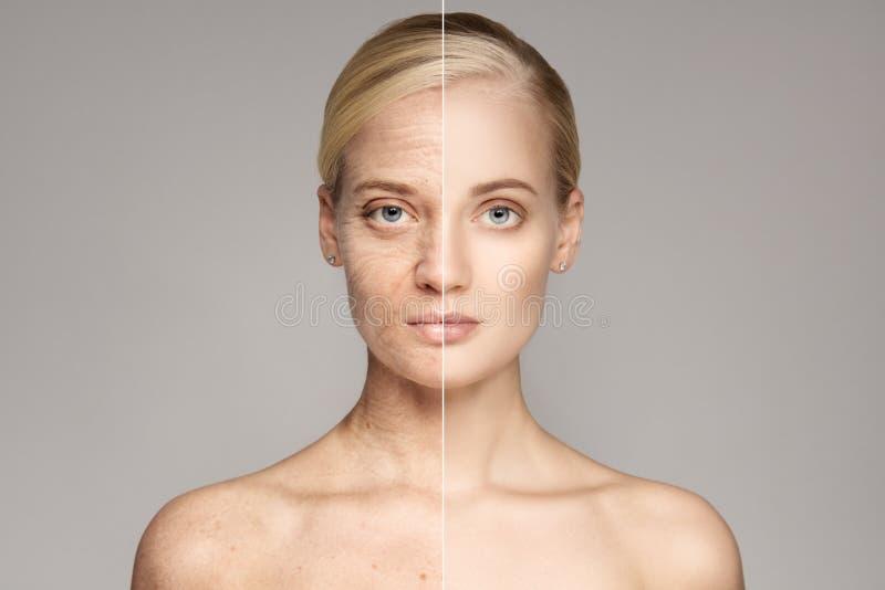 Πορτρέτο της ηλικιωμένης και νέας γυναίκας Έννοια γήρανσης στοκ φωτογραφία με δικαίωμα ελεύθερης χρήσης