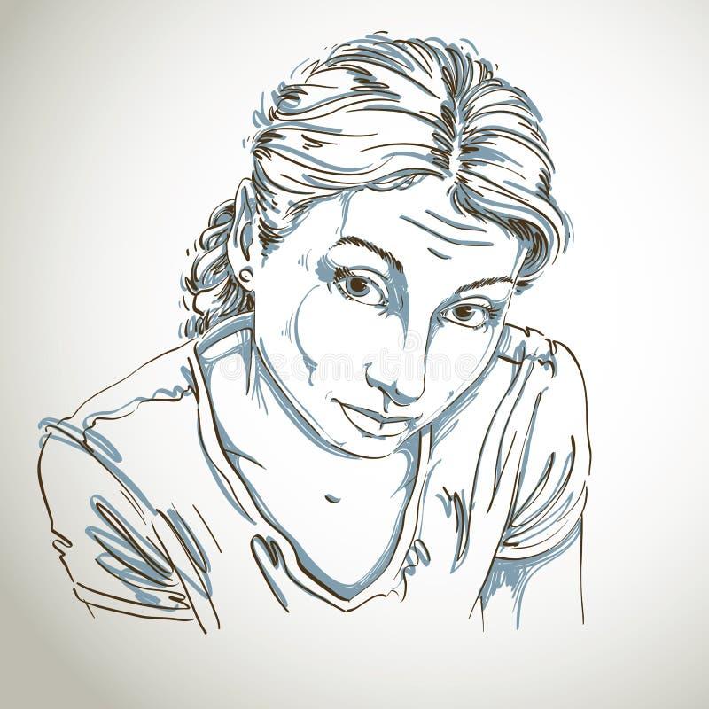 Πορτρέτο της λεπτής αφελούς ή αξιοκατάκριτης γυναίκας, γραπτό στοκ εικόνα με δικαίωμα ελεύθερης χρήσης