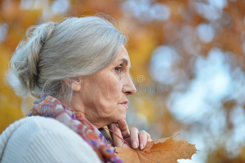 Πορτρέτο της λυπημένης ανώτερης γυναίκας στο πάρκο φθινοπώρου στοκ εικόνα με δικαίωμα ελεύθερης χρήσης