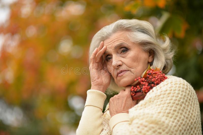 Πορτρέτο της λυπημένης ανώτερης γυναίκας στο πάρκο φθινοπώρου στοκ φωτογραφία με δικαίωμα ελεύθερης χρήσης