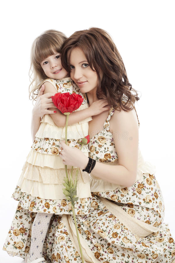 Πορτρέτο της μητέρας και λίγης κόρης στοκ εικόνες