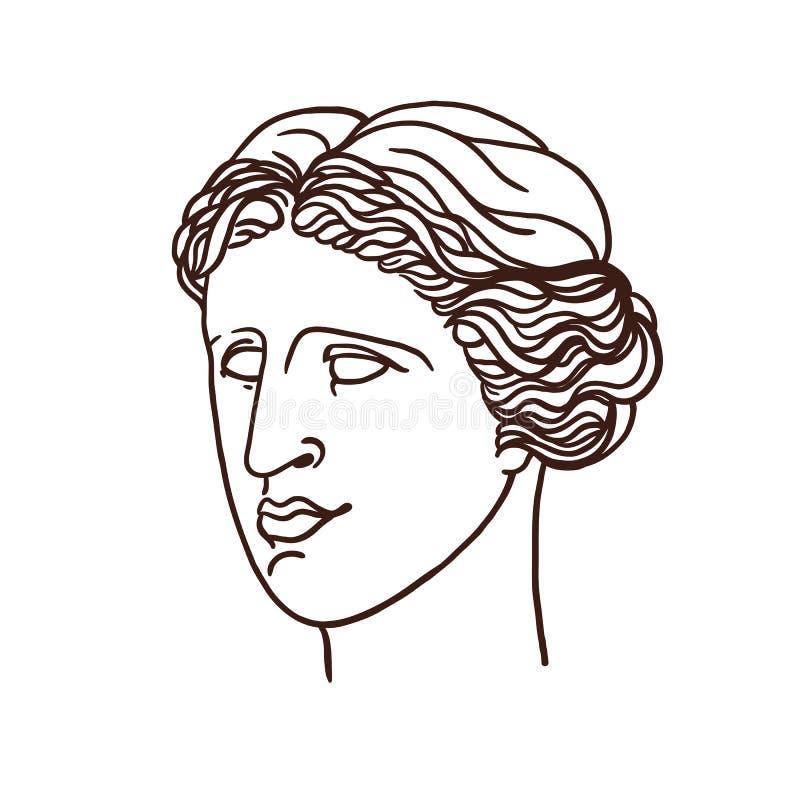 Πορτρέτο της μυθολογικής ελληνικής Αφροδίτης Μια γυναίκα στο σχεδιάγραμμα γραμμική γραφική παράσταση απεικόνιση αποθεμάτων