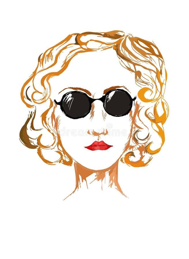 Πορτρέτο της νέας έξυπνης γυναίκας στα γυαλιά ήλιων ζωηρόχρωμα κοιτάζοντας μπροστά απεικόνιση αποθεμάτων