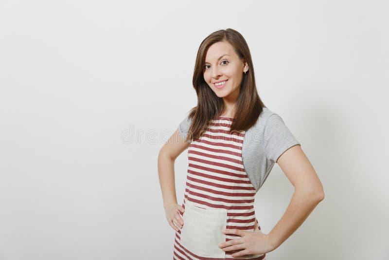 Πορτρέτο της νέας ελκυστικής χαμογελώντας καυκάσιας νοικοκυράς brunette στο άσπρο υπόβαθρο Όμορφη γυναίκα οικονόμων στοκ φωτογραφίες με δικαίωμα ελεύθερης χρήσης