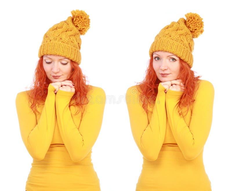 Πορτρέτο της νέας ελκυστικής συναισθηματικής γυναίκας στο κίτρινο καπέλο στοκ εικόνες με δικαίωμα ελεύθερης χρήσης