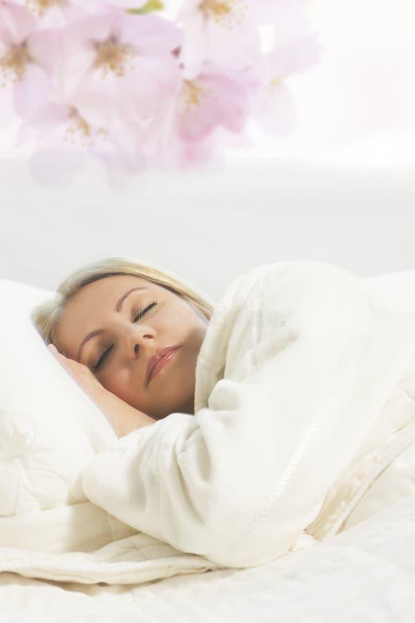 Πορτρέτο της νέας ξανθής γυναίκας ύπνου στοκ εικόνες