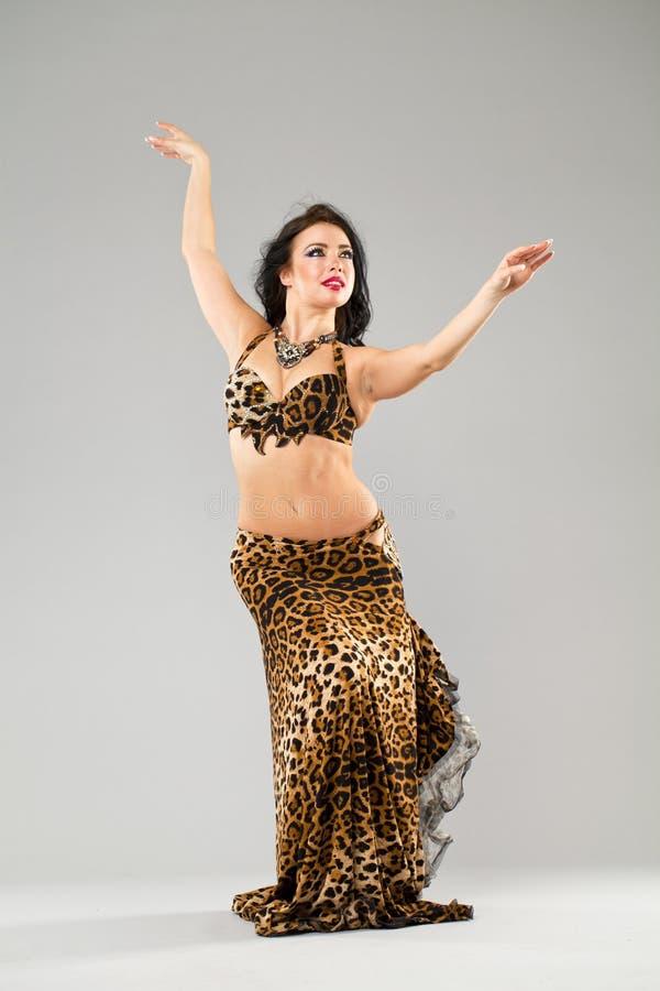 Πορτρέτο της νέας προκλητικής γυναίκας στη φούστα λεοπαρδάλεων στοκ εικόνα με δικαίωμα ελεύθερης χρήσης