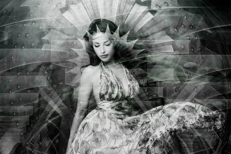 Πορτρέτο της νέας όμορφης διπλής έκθεσης γυναικών στοκ φωτογραφίες
