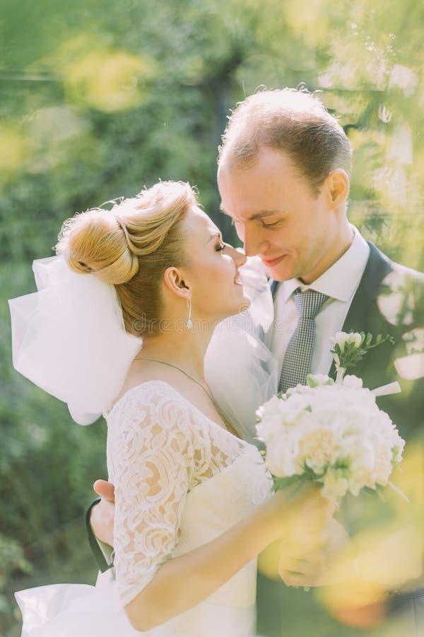 Πορτρέτο της νύφης και του νεόνυμφου που αγκαλιάζει στη ημέρα γάμου τους υπαίθρια Ηλιόλουστο υπόβαθρο πάρκων άνοιξη στοκ εικόνες