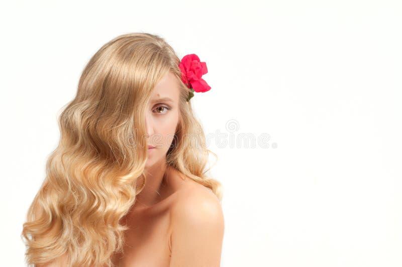 Πορτρέτο της ξανθής γυναίκας με τη μακριά υγιή τρίχα Ομορφιά και SPA, κορίτσι με το τέλειο δέρμα στοκ φωτογραφία με δικαίωμα ελεύθερης χρήσης