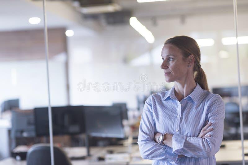 Πορτρέτο της περιστασιακής επιχειρησιακής γυναίκας στο γραφείο στοκ εικόνες με δικαίωμα ελεύθερης χρήσης