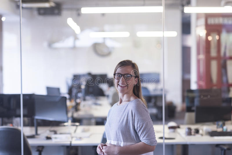 Πορτρέτο της περιστασιακής επιχειρησιακής γυναίκας στο γραφείο στοκ φωτογραφία με δικαίωμα ελεύθερης χρήσης