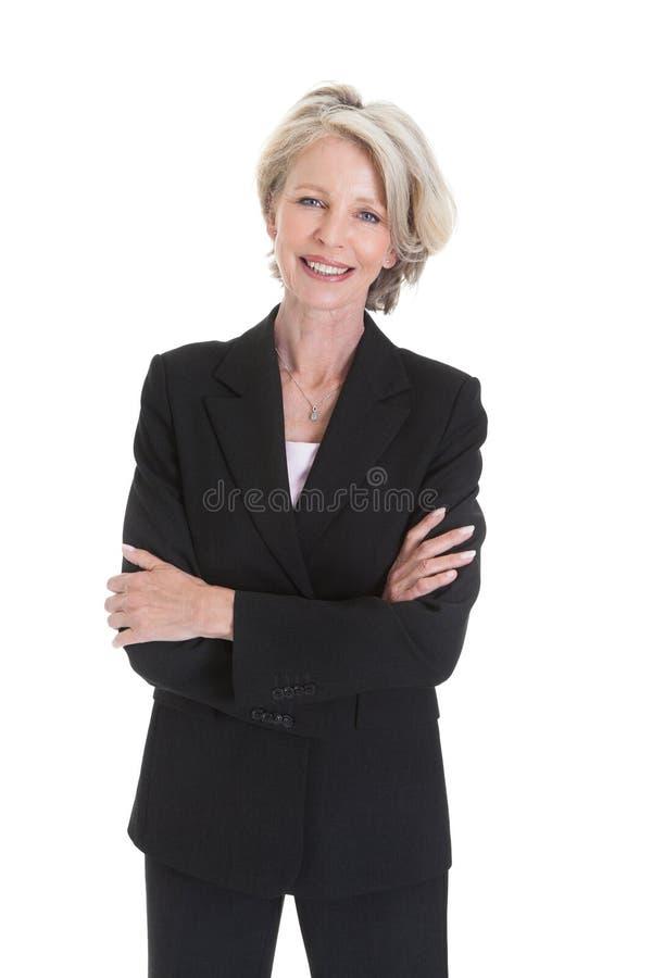 Πορτρέτο της συγκινημένης επιχειρηματία στοκ φωτογραφίες