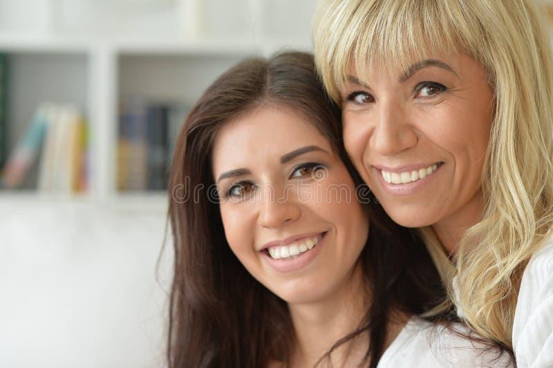 Πορτρέτο της χαμογελώντας μητέρας και της κόρης στοκ εικόνες