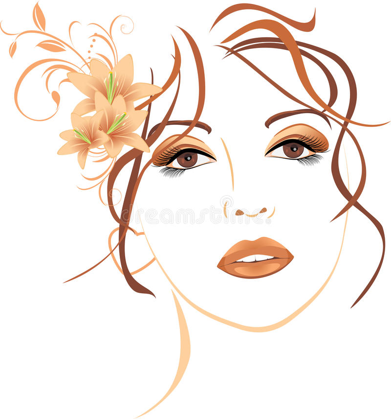 Πορτρέτο της όμορφης γυναίκας με τους κρίνους στο τρίχωμα διανυσματική απεικόνιση