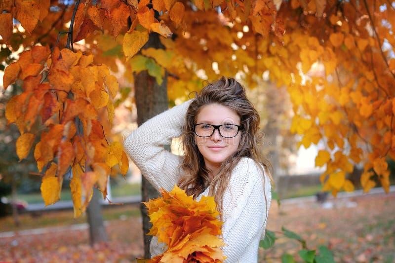 Πορτρέτο της όμορφης γυναίκας που φορά τα γυαλιά μόδας κατά τη διάρκεια του φθινοπώρου στοκ εικόνες