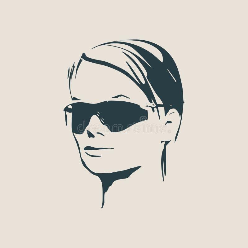 Πορτρέτο της όμορφης γυναίκας στα μαύρα γυαλιά ηλίου απεικόνιση αποθεμάτων