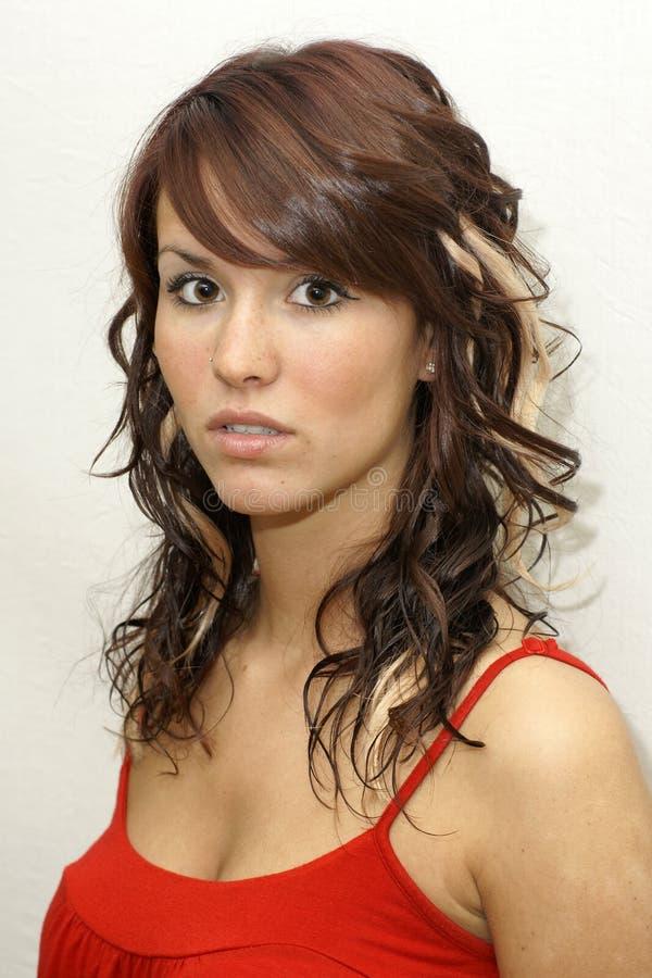 Πορτρέτο της όμορφης γυναίκας brunette στο στούντιο στοκ εικόνες
