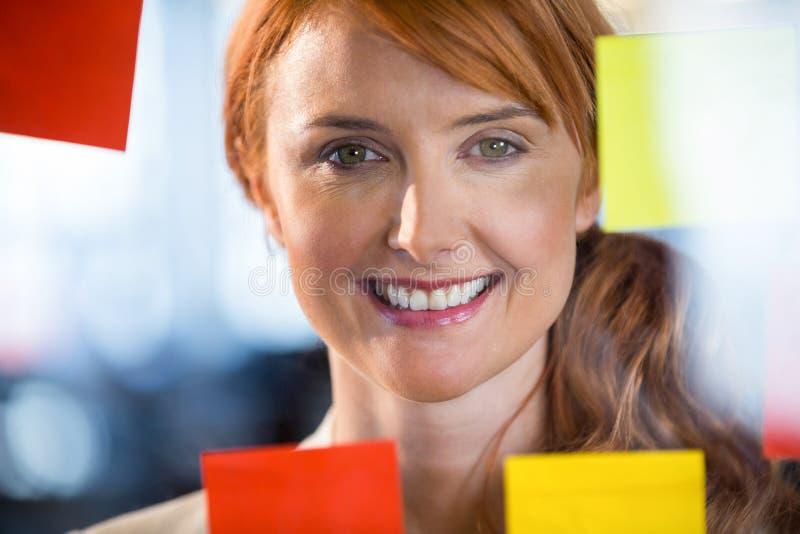 Πορτρέτο της όμορφης επιχειρηματία που βλέπει μέσω του γυαλιού στοκ εικόνες με δικαίωμα ελεύθερης χρήσης