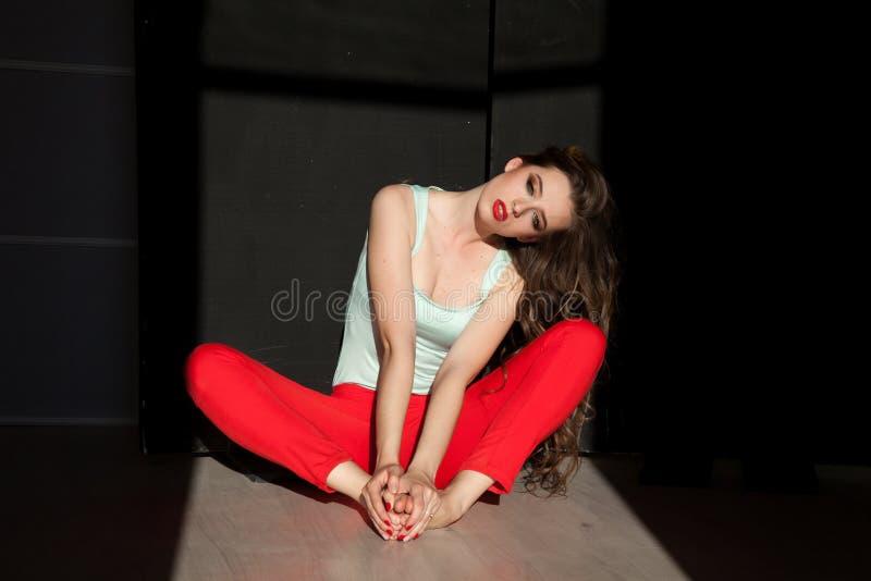 Πορτρέτο της όμορφης μοντέρνης γυναίκας στα κόκκινα εσώρουχα στοκ εικόνα με δικαίωμα ελεύθερης χρήσης