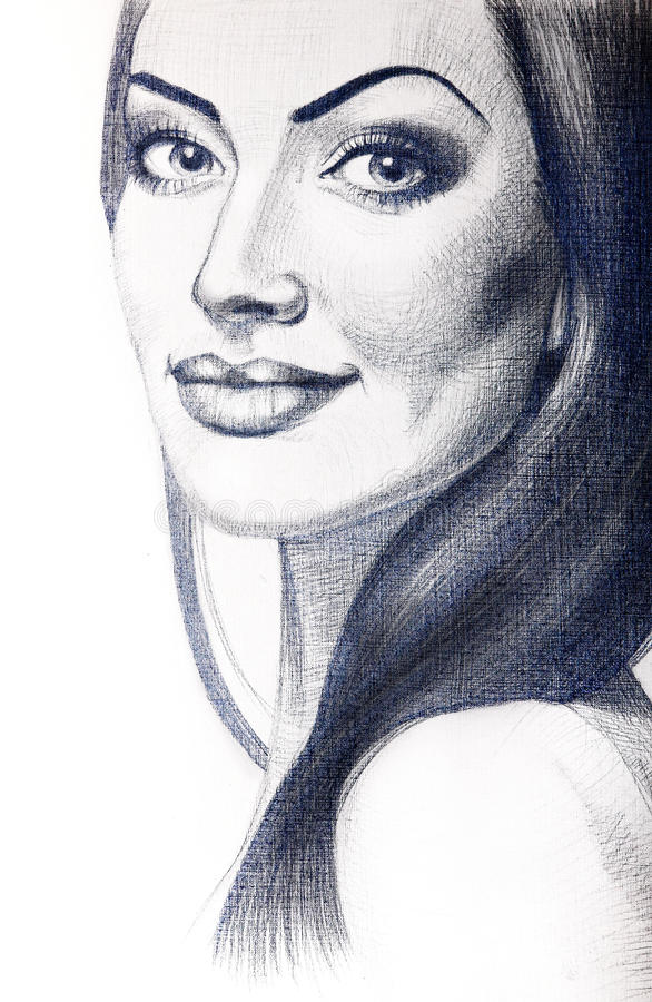 Πορτρέτο της όμορφης νέας γυναίκας με μακρυμάλλη στοκ εικόνες με δικαίωμα ελεύθερης χρήσης