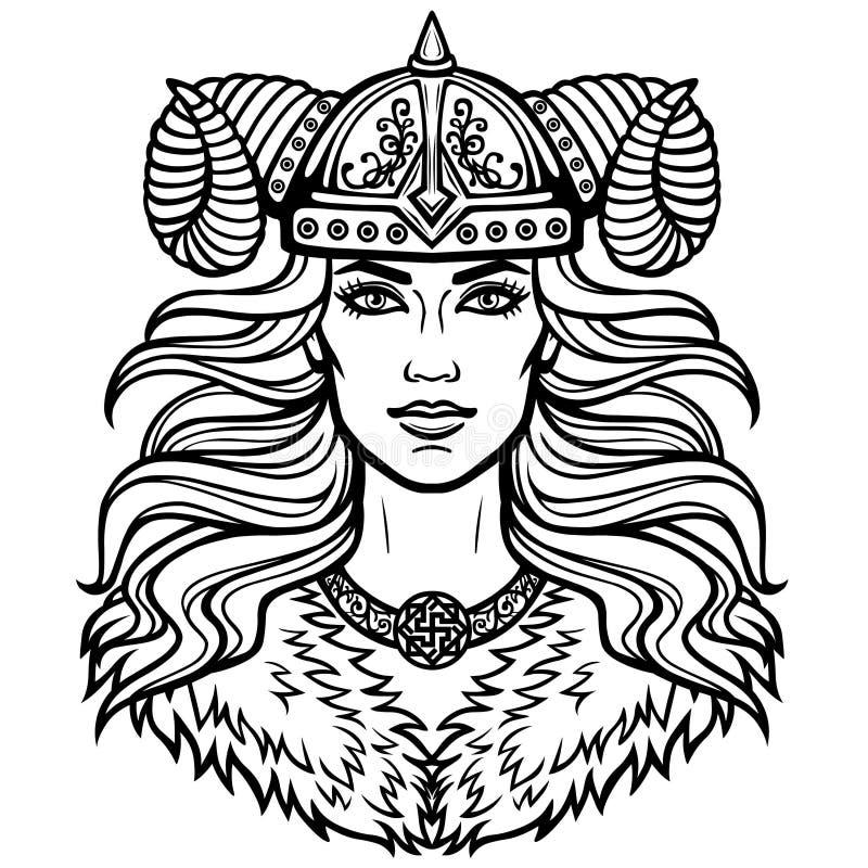 Πορτρέτο της όμορφης νέας γυναίκας Valkyrie σε ένα κερασφόρο κράνος Ειδωλολατρική θεά, μυθικός χαρακτήρας ελεύθερη απεικόνιση δικαιώματος