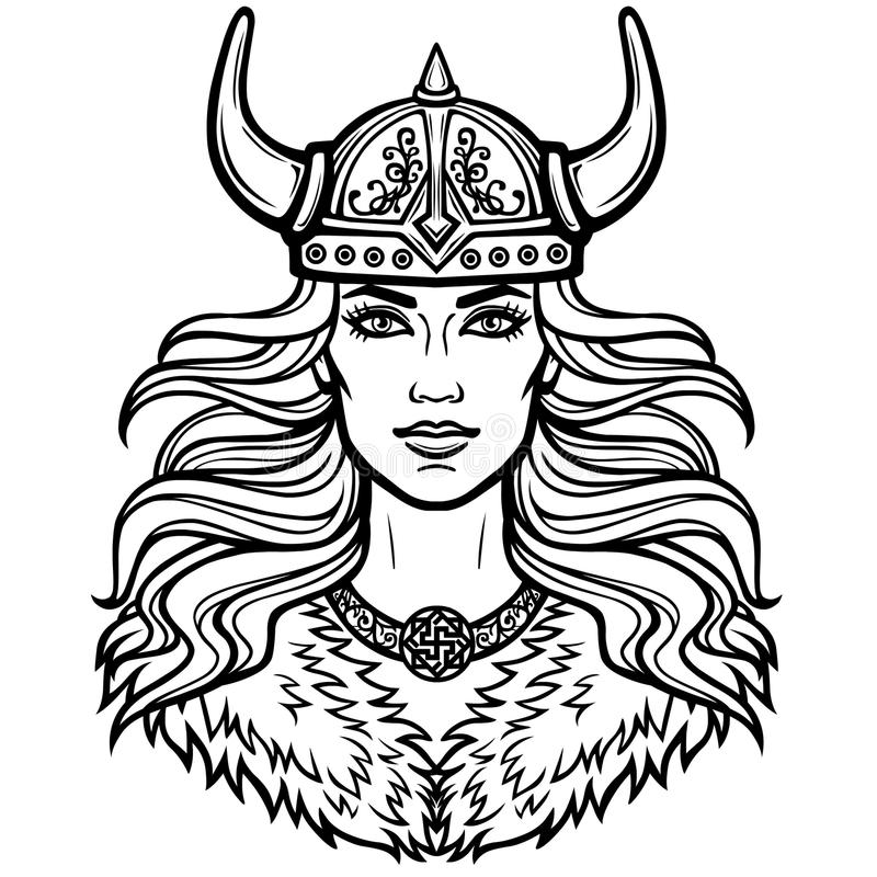 Πορτρέτο της όμορφης νέας γυναίκας Valkyrie σε ένα κερασφόρο κράνος Ειδωλολατρική θεά, μυθικός χαρακτήρας απεικόνιση αποθεμάτων